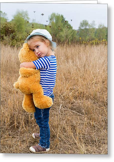 Daughter Gift Greeting Cards - Cute little girl hugging a big Teddy bear Greeting Card by Vyaheslav Volkov