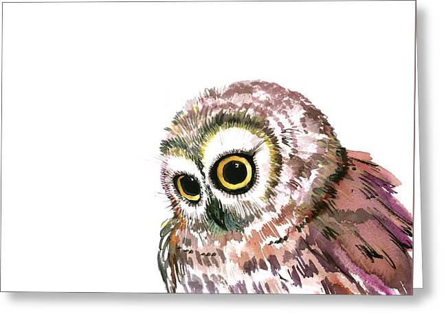 Cute Little Owl Greeting Card by Suren Nersisyan