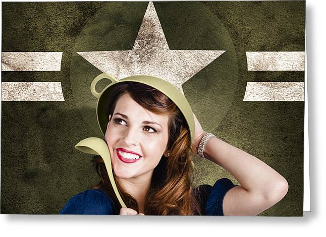 Happy Posters Greeting Cards - Cute military pin-up woman on army star background Greeting Card by Ryan Jorgensen