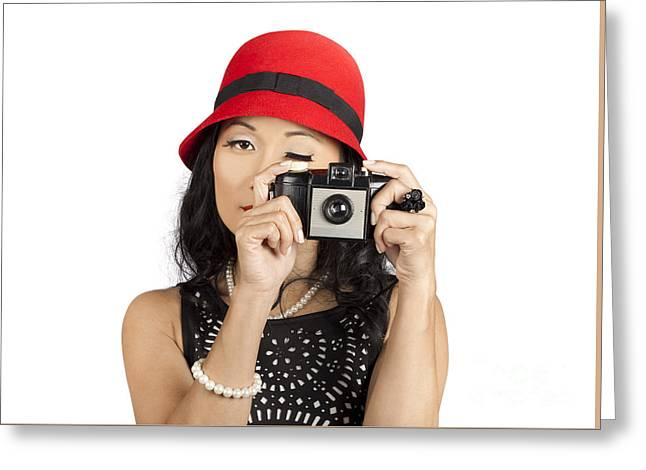 Aperture Greeting Cards - Cute pin up Asian lady taking photo with camera Greeting Card by Ryan Jorgensen