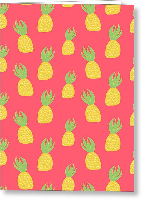 Cute Pineapples Greeting Card by Allyson Johnson
