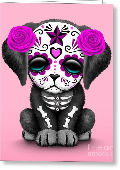 Puppies Digital Art Greeting Cards - Cute Pink Day of the Dead Sugar Skull Dog  Greeting Card by Jeff Bartels