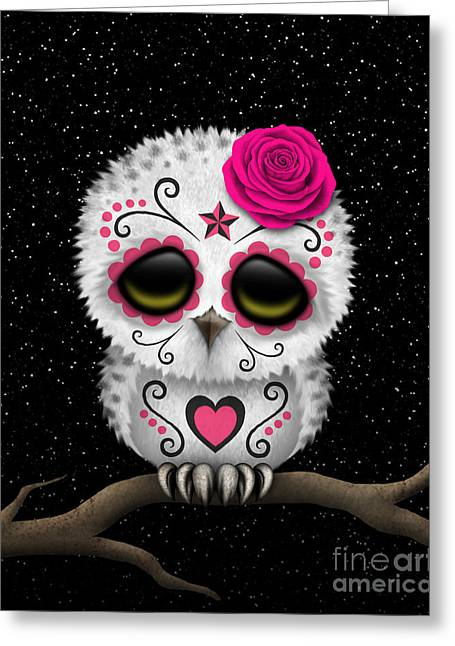 Cute Owl Greeting Cards - Cute Pink Day of the Dead Sugar Skull Owl on a Branch Greeting Card by Jeff Bartels