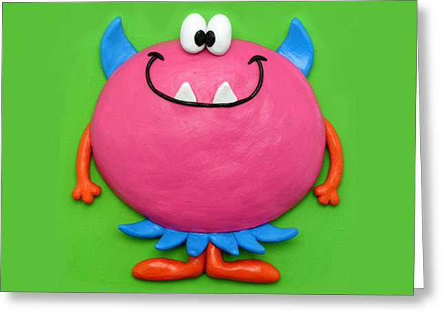 Cute Mixed Media Greeting Cards - Cute Pink Monster Greeting Card by Amy Vangsgard