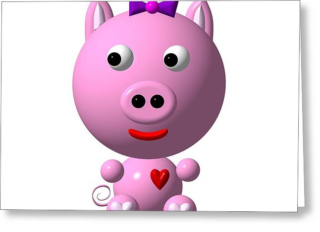 First Love Greeting Cards - Cute Pink Pig with Purple Bow Greeting Card by Rose Santuci-Sofranko