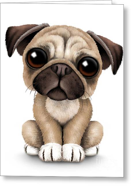 Puppies Digital Art Greeting Cards - Cute Pug Puppy Dog Greeting Card by Jeff Bartels