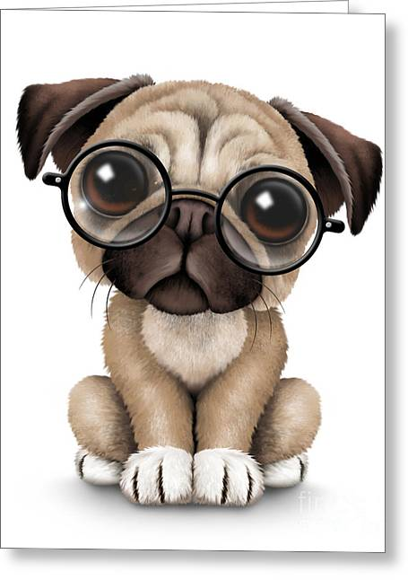 Puppies Digital Art Greeting Cards - Cute Pug Puppy Dog Wearing Eye Glasses Greeting Card by Jeff Bartels