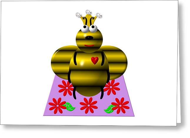 Cute Queen Bee On A Quilt Greeting Card by Rose Santuci-Sofranko