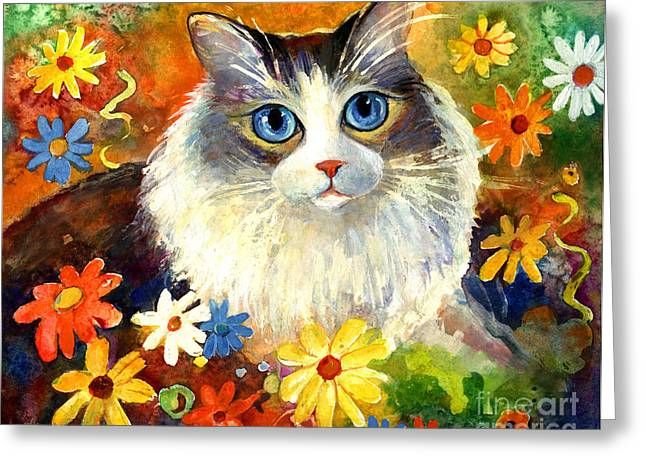 Cute Kitten Drawings Greeting Cards - Cute Ragdoll Tubby Cat in flowers Greeting Card by Svetlana Novikova