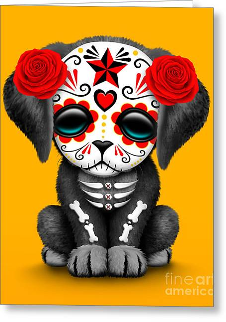 Puppies Digital Art Greeting Cards - Cute Red Day of the Dead Sugar Skull Dog  Greeting Card by Jeff Bartels