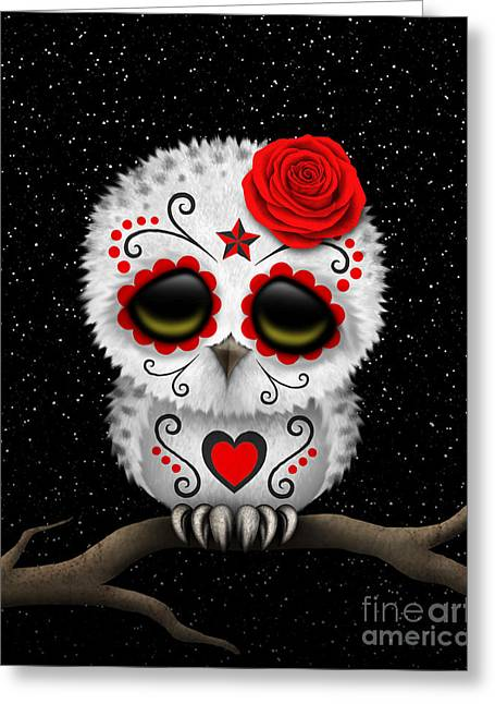 Cute Owl Greeting Cards - Cute Red Day of the Dead Sugar Skull Owl on a Branch Greeting Card by Jeff Bartels