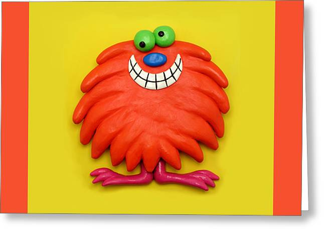 Cute Mixed Media Greeting Cards - Cute Red Monster Greeting Card by Amy Vangsgard