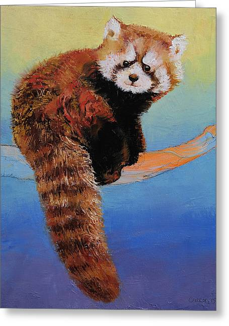 Impasto Tree Greeting Cards - Cute Red Panda Greeting Card by Michael Creese