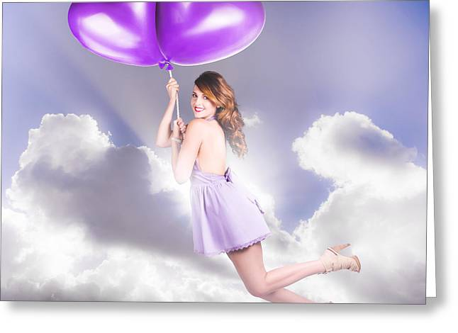 Footwear Love Greeting Cards - Cute Retro Pinup Girl Holding Heart Shaped Balloon Greeting Card by Ryan Jorgensen