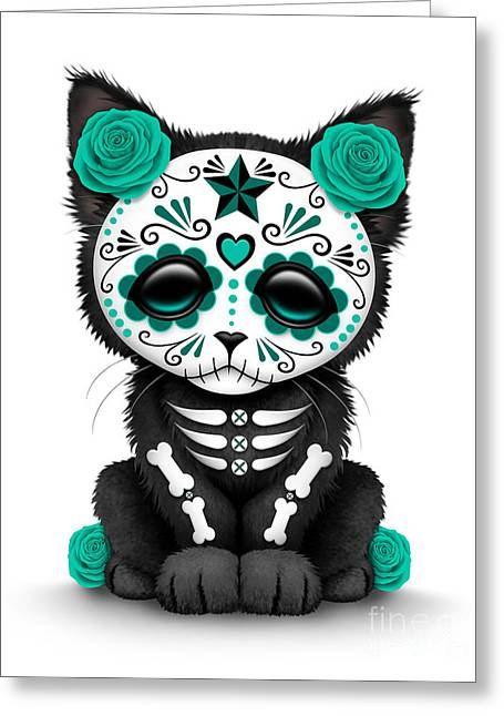 Cute Kitten Greeting Cards - Cute Teal Blue Day of the Dead Kitten Cat  Greeting Card by Jeff Bartels