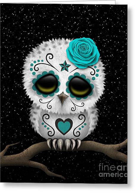 Cute Owl Greeting Cards - Cute Teal Day of the Dead Sugar Skull Owl on a Branch Greeting Card by Jeff Bartels