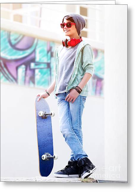 Teen Town Greeting Cards - Cute teen boy with skateboard Greeting Card by Anna Omelchenko