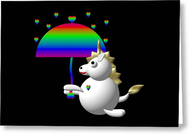 Cute Unicorn With An Umbrella Greeting Card by Rose Santuci-Sofranko