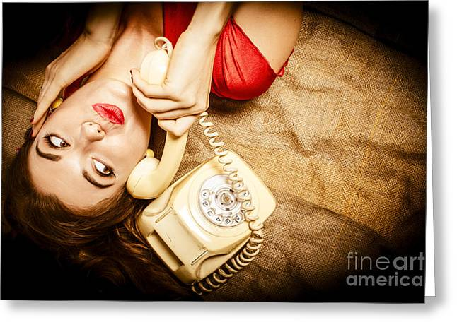 Good News Greeting Cards - Cute vintage pin up girl making telephone call Greeting Card by Ryan Jorgensen