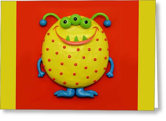 Cute Yellow Monster Greeting Card by Amy Vangsgard