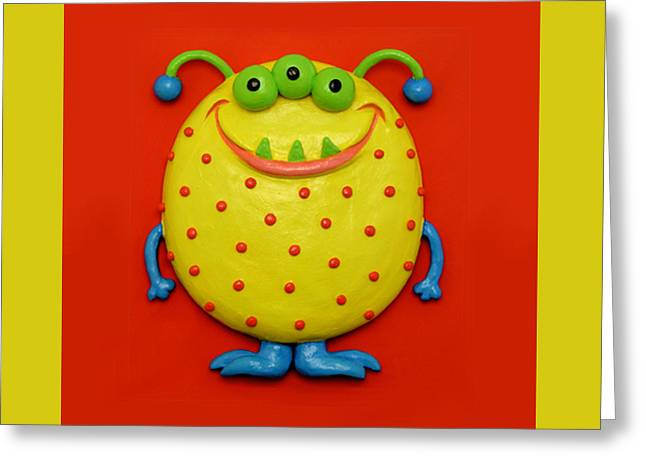 Cute Mixed Media Greeting Cards - Cute Yellow Monster Greeting Card by Amy Vangsgard