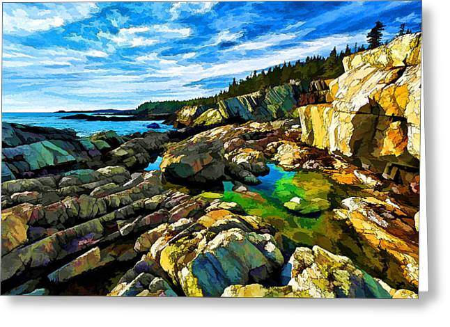 New England Coast Line Greeting Cards - Cutler Coast at Fairy Head - Painterly Greeting Card by Bill Caldwell -        ABeautifulSky Photography