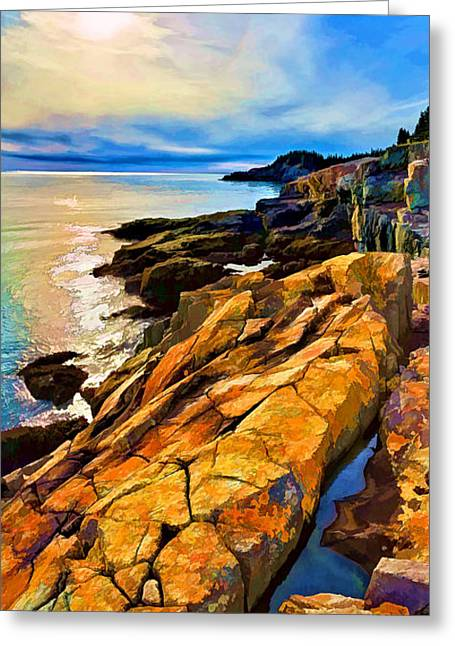 Panoramic Ocean Digital Greeting Cards - Cutler Coast Lichen 2 Greeting Card by Bill Caldwell -        ABeautifulSky Photography
