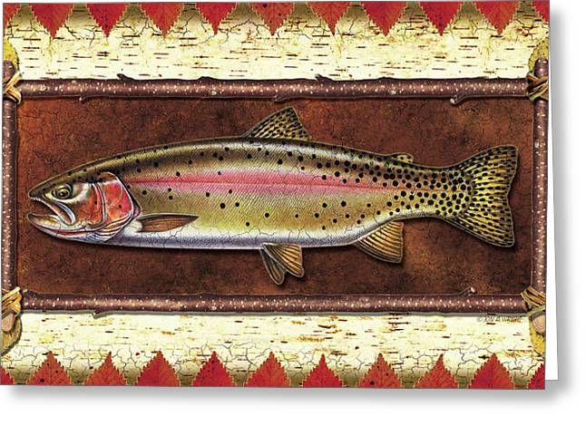 Cabin Greeting Cards - Cutthroat Trout Lodge Greeting Card by JQ Licensing