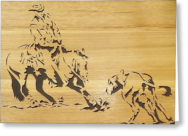 Woodcarving Greeting Cards - Cutting Horse Greeting Card by Russell Ellingsworth