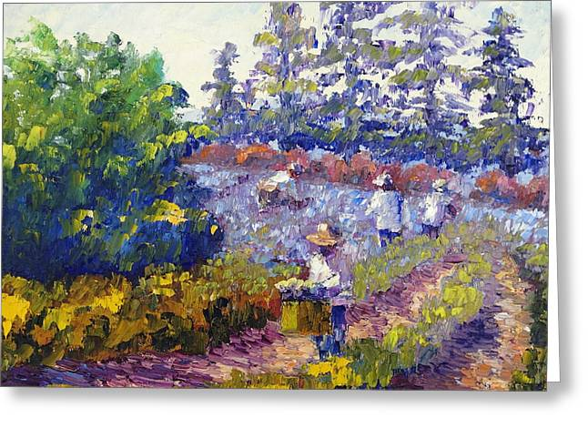 People Paintings Greeting Cards - Cutting Lavender Greeting Card by Terry  Chacon