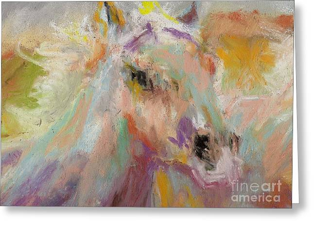 Horse Art Pastels Greeting Cards - Cutting loose Greeting Card by Frances Marino