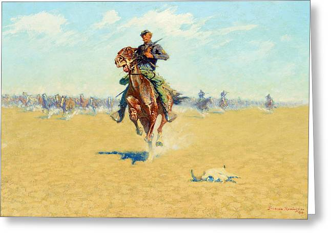 Remington Greeting Cards - Cutting Out Pony Herds Greeting Card by Celestial Images