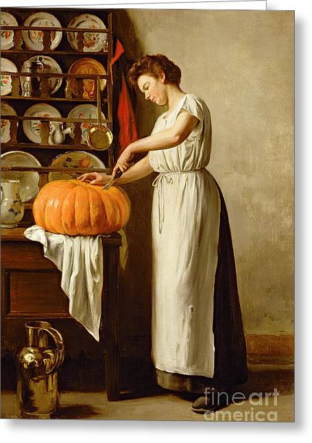 Thanksgiving Greeting Cards - Cutting the Pumpkin Greeting Card by Franck-Antoine Bail