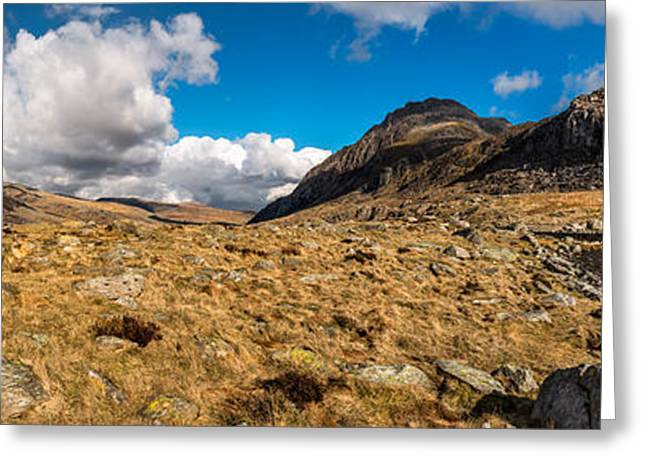 Moss Greeting Cards - Cwm Idwal Panorama Greeting Card by Adrian Evans