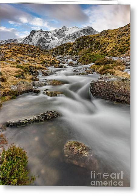 Cwm Idwal Stream Greeting Card by Adrian Evans