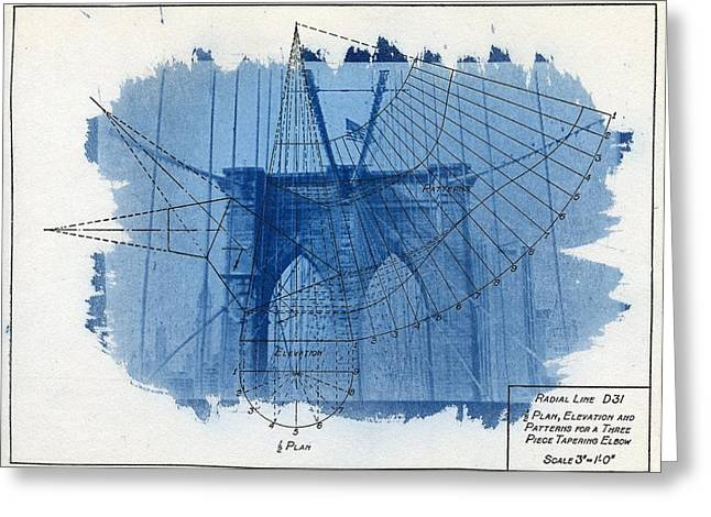 Process Greeting Cards - Cyanotype Brooklyn Bridge Greeting Card by Jane Linders