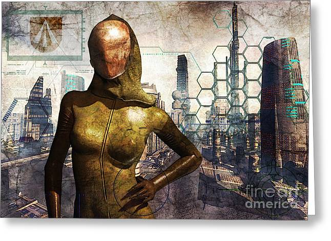 Future Tech Digital Art Greeting Cards - Cyber Queen Greeting Card by Luca Oleastri