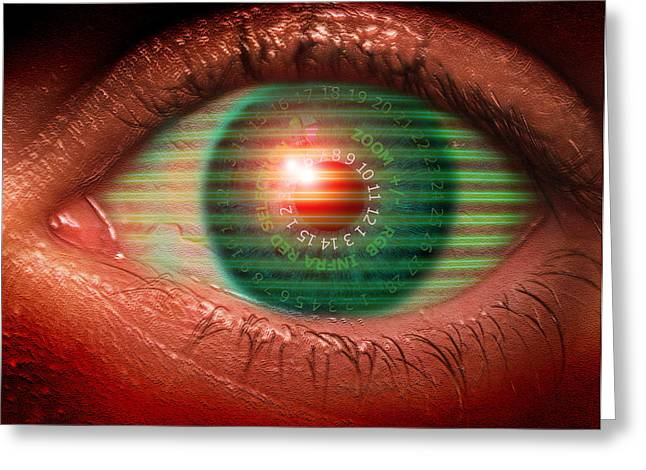 Police State Greeting Cards - Cybernetic Eye Greeting Card by Victor Habbick Visions