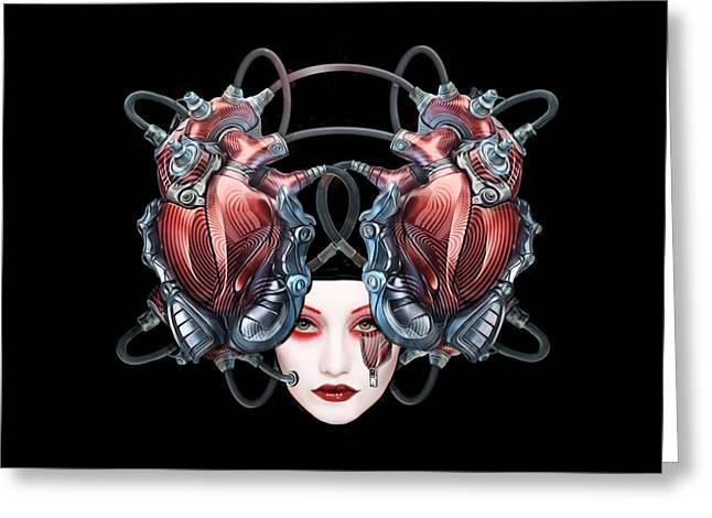 Theater Greeting Cards - Cyborg Masque Greeting Card by Elisabeth Trostli