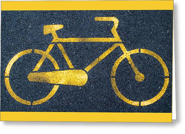 Icons Pyrography Greeting Cards - Cycle lane Greeting Card by Andrea Casali
