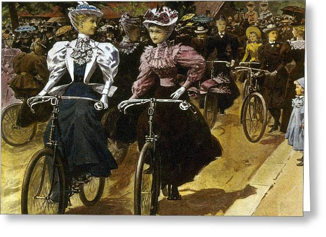 Apparel Greeting Cards - Cycling Fashions, 1895 Greeting Card by Science Source