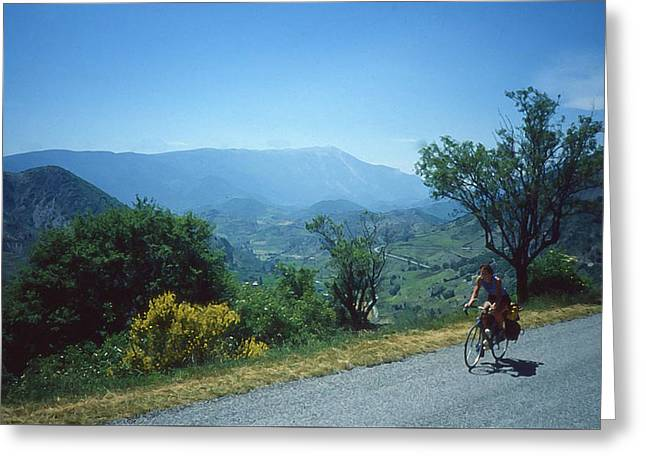 Shades Of Red Greeting Cards - Cycling in the Provence Mountains Greeting Card by Elizabetha Fox