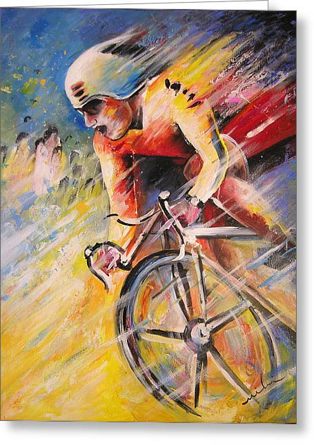 Cycling Paintings Greeting Cards - Cycling Greeting Card by Miki De Goodaboom