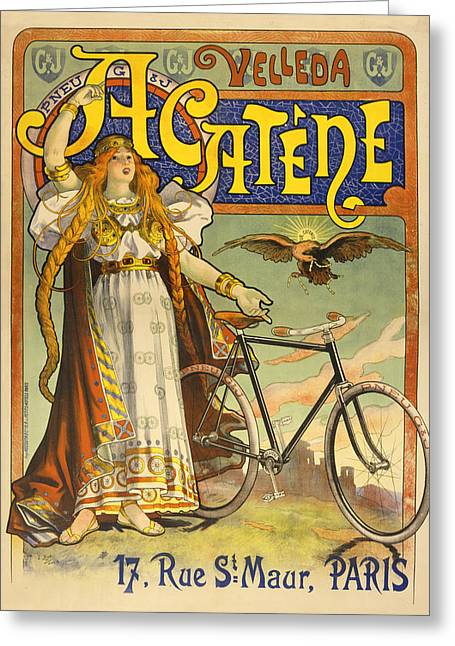 Vintage Bicycle Pastels Greeting Cards - Cycling Priestess Greeting Card by Vintage Velo