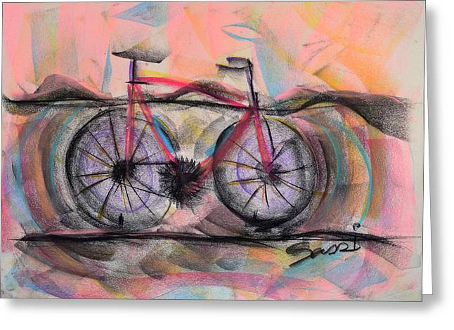 Planet Earth Pastels Greeting Cards - Cycling Solo Greeting Card by Robert M Sassi