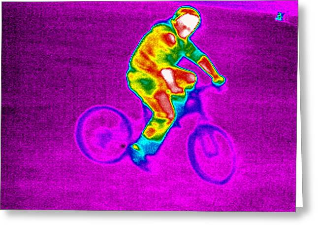 Thermography Greeting Cards - Cycling, Thermogram Greeting Card by Tony Mcconnell