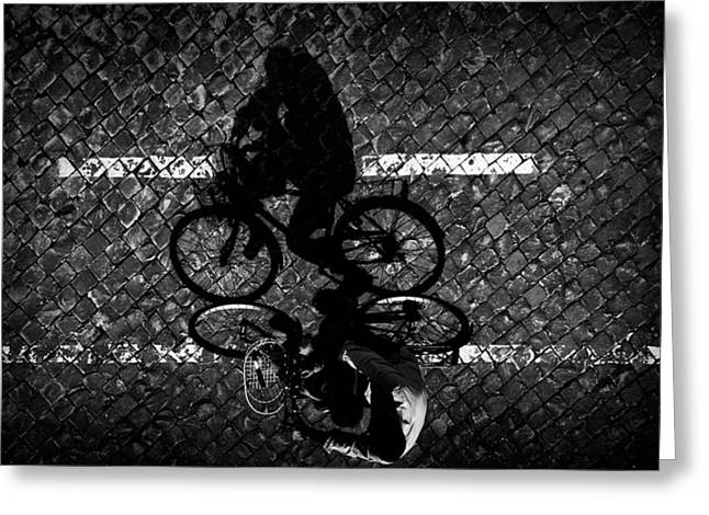 Streets Greeting Cards - Cycling With Dad... Greeting Card by Antonio Grambone