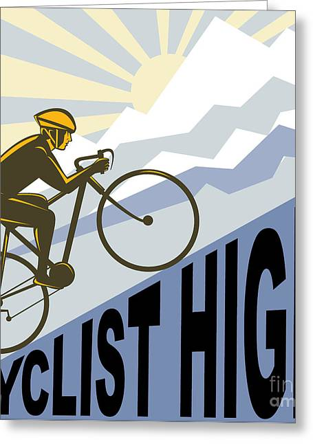 Incline Greeting Cards - Cyclist racing bike Greeting Card by Aloysius Patrimonio