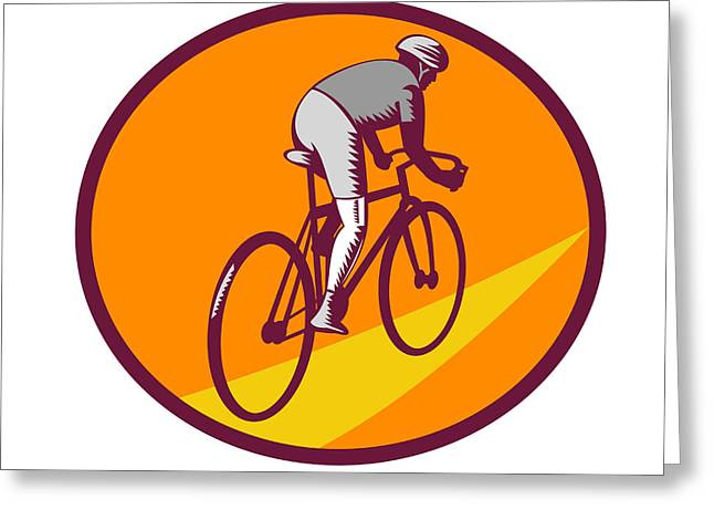 Printmaking Greeting Cards - Cyclist Riding Bicycle Cycling Oval Woodcut Greeting Card by Aloysius Patrimonio