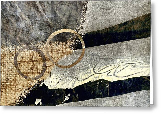 Abstract Montage Greeting Cards - Cyclists Abstract Greeting Card by Carol Leigh